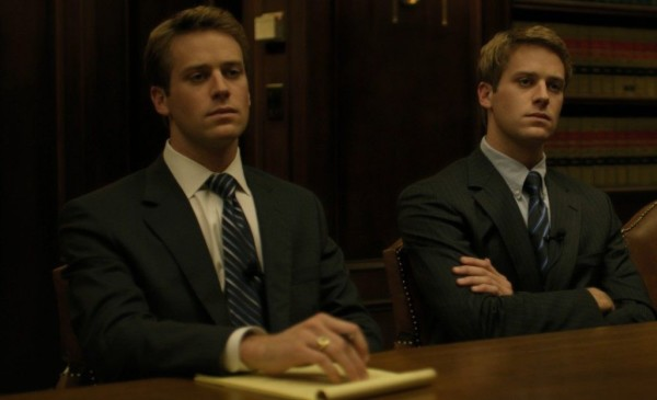 Armie Hammer portraying Cameron and Tyler Winklevoss in The Social Network (2010, David Fincher). A famous example of how masking can be used to duplicate actors within a scene.